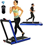 Aceshin 2 in 1 Under Desk Portable Electric Folding Treadmill Walking Pad with Wireless Remote Control and Audio Speakers, Fitness Walking Jogging Running Machine Cardio Workout for Home Office