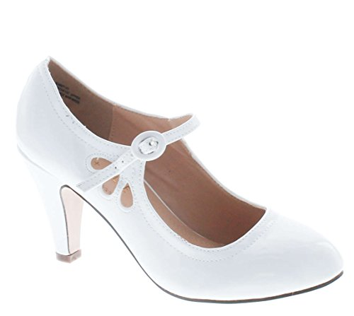 (Chase & Chloe Kimmy-21 Women's Round Toe Pierced Mid Heel Mary Jane Style Dress Pumps,White Patent,8.5)