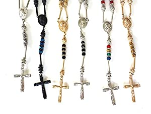 Men's Hip Hop Shamballa Jesus Cross Rosary Acrylic Beaded Long Fashion Necklace