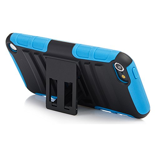 iPod Touch 6th Generation Case, Rugged Hybrid Dual Layer Protection Kickstand Full Cover Case with Video Watching Stand for Apple iPod Touch 6 6th Gen 5 5th Gen (Blue)