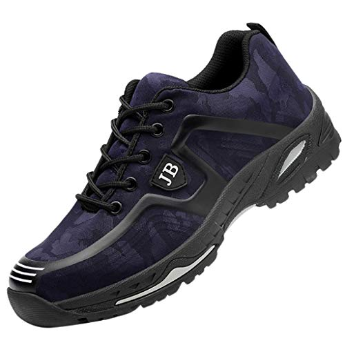 ◕‿◕Watere◕‿◕ Men's Sneakers,Men's Steel Toe Work Shoes Women Breathable Safety Shoes Sporty Protective Shoes Dark Blue ()