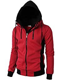 H2H Mens Active Thermal Long Sleeve Hoodie High Neck Double Zip-up