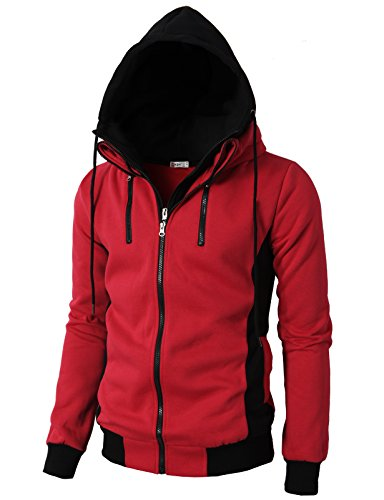 H2H Mens Casual High-neck Solid Colors Hoodie Zip-up with Double Zipper Details RED US S/Asia M (KMOHOL013)