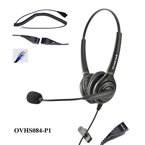 Dual Ear Call Center Headset for Desk phones. Compatible brands: Aastra, Allworx, Altigen, Avaya, Nortel Meridian, Norstar, NEC, PolyCom, ShoreTel, Plantronics T20, Samsung, Talkswitch telephones