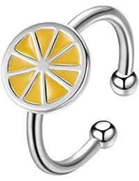 925 Sterling Silver Oranges Lemon Pineapple Star Flower Ring Women Wedding Party Christmas Gift