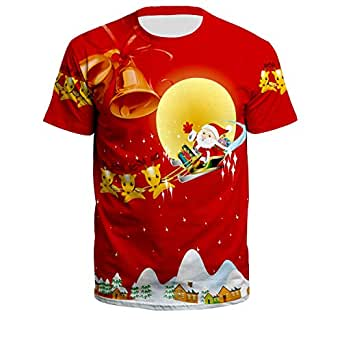 LHJ Unisex Ugly Christmas T-Shirt Funny Design Shirt for Xmas Holiday Party