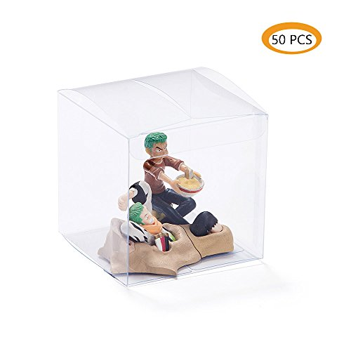 ZOOYOO Clear Plastic Box 3x3x3inch for Weddings/Party Favors/Packaging Treat Cupcake Transparent Packing Boxes 50PCS ()