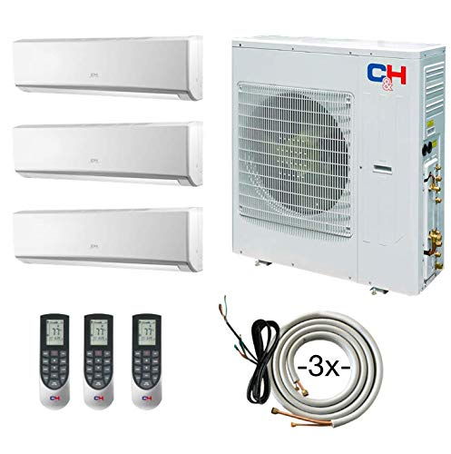 COOPER AND HUNTER Tri 3 Zone Wall Mount Ductless Mini Split Air Conditioner 12000 12000 12000 Heat Pump Multi