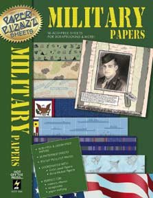16 Military Scrapbooking Papers Pizazz HOTP - Scrapbooking Hotp