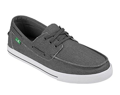 Sanuk Mens The Sea Man Sidewalk Surfers Footwear, Charcoal Washed, Size 12