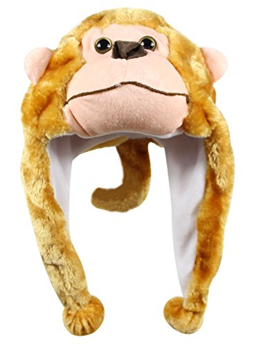 Bioterti Plush Fun Animal Hats –One Size Cap - 100% Polyester with Fleece Lining (Monkey) -