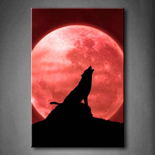 EZON-CH Modern Art Red Wolf Howling At The Moon In The Midnight Wall Art Painting Print On Canvas Animal Pictures Stretched and Framed For Home (Last Midnight Sheet Music)