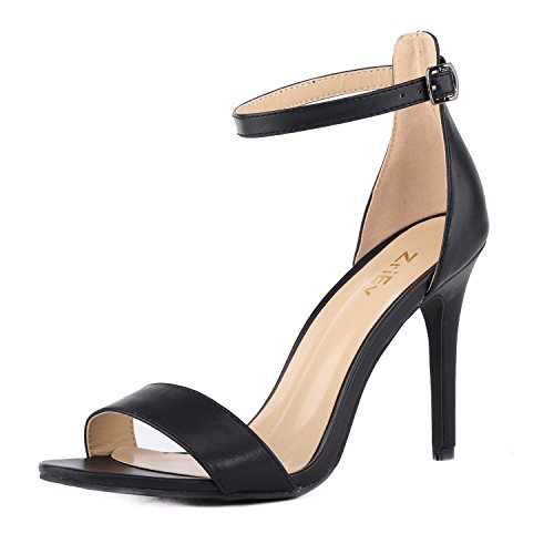 ZriEy Women's Heeled Sandals Ankle Strap High Heels 10CM Open Toe Bridal Party Shoes Black Size 7.5
