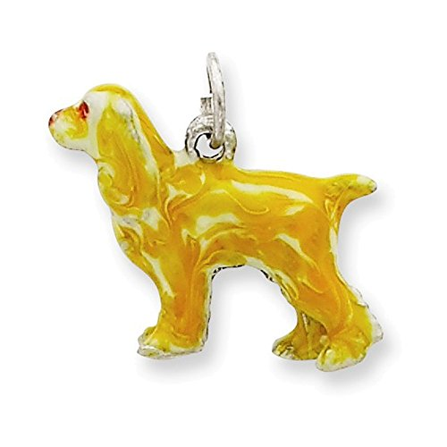 Sterling Silver Enameled Small Cocker Spaniel Charm ()