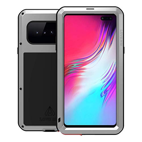 (LOVE MEI Samsung Galaxy S10 5G Case with Glass Screen Protector Heavy Duty Metal Frame Silicone Rubber Cover Full Body Shockproof Scratch Resistant Bumper for Samsung S10 5G 6.7 Inches (Silver) )