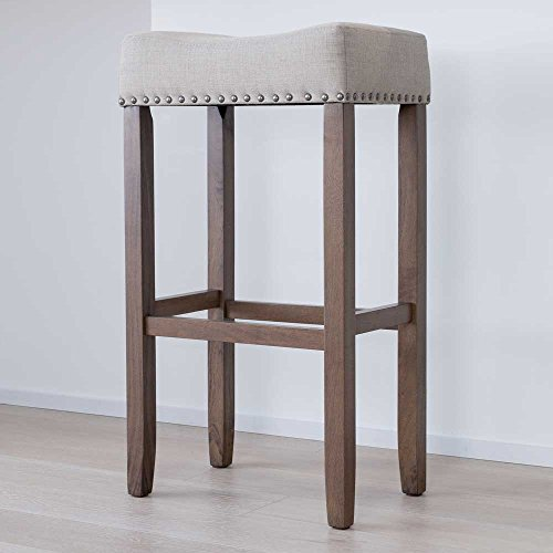 "Nathan James 21403 Hylie Nailhead Wood Pub-Height Kitchen Counter Bar Stool 29"", Beige/Light Brown"