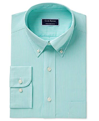 - Club Room Men's Classic/Regular Fit Performance Bengal Stripe Dress Shirt Green 18 36-37