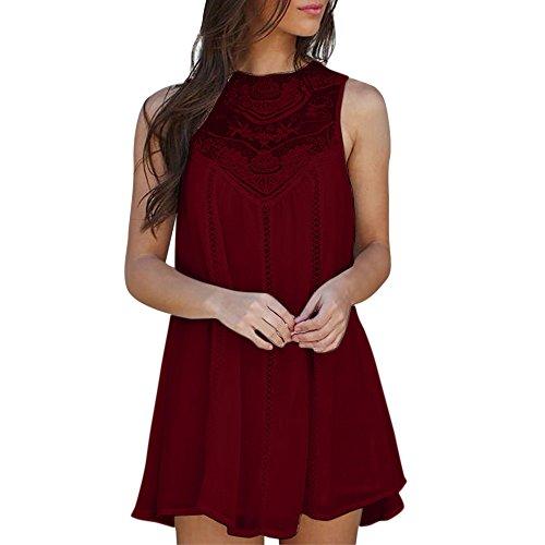 HGWXX7 Women Summer Skirts Casual Solid Lace Stitching O-Neck Sleeveless Chiffon Mini Dress (L, z-Wine) ()