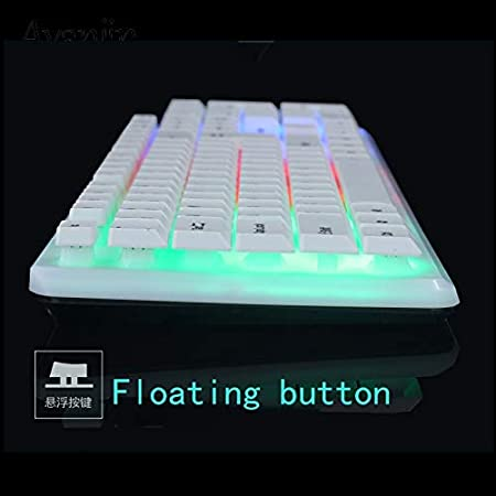 Color : White Keyboard Mouse HUOGUOYIN Gaming Keyboard Mechanical Gaming Keyboard Wired Keyboard LED Backlight Rainbow Color Glow Player PC Computer Keyboard Mouse Keyboard