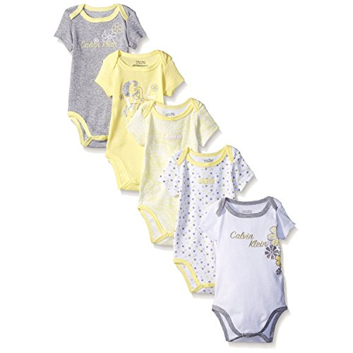 Calvin Klein Baby Girls' Assorted Short Sleeve Bodysuit, Yellow, 6-9 Months (Pack of 5)]()
