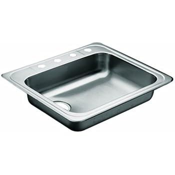 Moen 22130 Commercial Sink 20 Ga 4 Hole Left Rear Drain