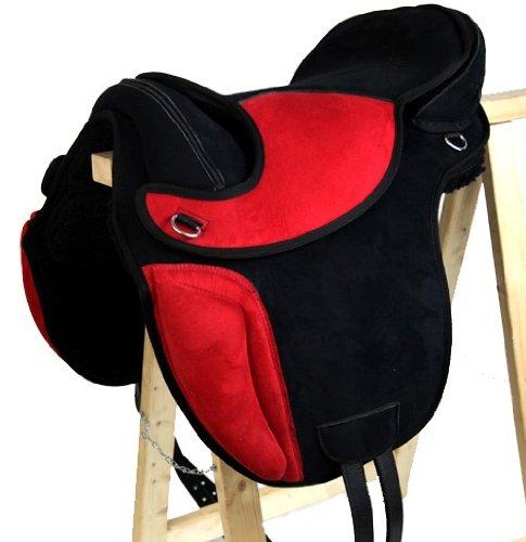 Baumloser Dressur Sattel SHEFFIELD aus Kunststoff Schwarz/Rot