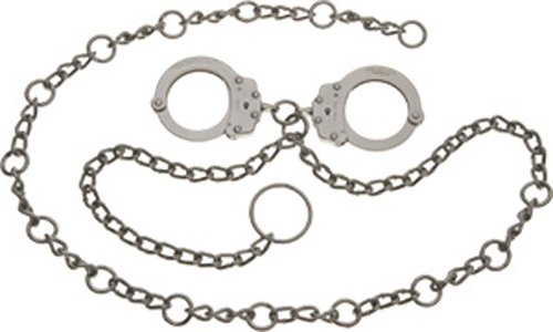 Peerless Handcuffs Company Waist Chain with Linked Cuffs and 54-Inch Chain, Nickel Finish
