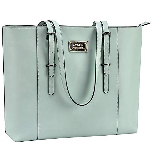 ZYSUN Laptop Tote Bag, Lightweight 15.6 in Laptop Bag for Women Chic PU Leather Professional Briefcase Handbag with Sturdy Handles Perfect Mint Green ()
