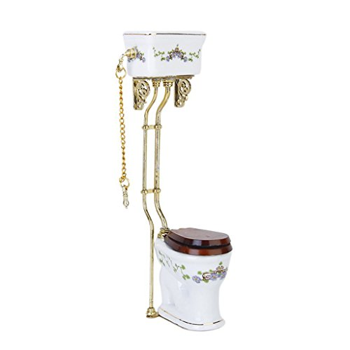 SODIAL(R) Vintage Victorian style bathroom porcelain toilet doll house miniature white + gold
