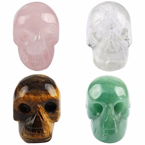 (rockcloud Healing Crystal Stone Human Reiki Skull Figurine Statue Sculptures Mixed Stone(Pack of 4))
