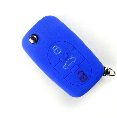 Bright Parts® Azul Silicona estuche llavero funda para llaves cover para Audi llaves con 3botones Brightparts®