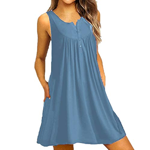 FRENDLY Women O Neck Casual Button Sleeveless Above Knee Dress Loose Party Mini Dress Casual Swing T-Shirt Short Dress Light Blue