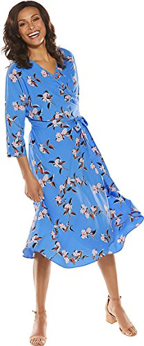 Coolibar UPF 50+ Women's Summer Wrap Dress - Sun Protective (Medium- Spring Blue Garden Party Floral) by Coolibar