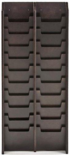 Displays2go Large Wall Mount Magazine Rack, 20-Pocket for Magazines, Waiting Room/Office (MG20WFBK)