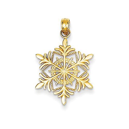 14k Yellow Gold Snowflake Pendant, 16mm 14k Yellow Gold Snowflake Pendant