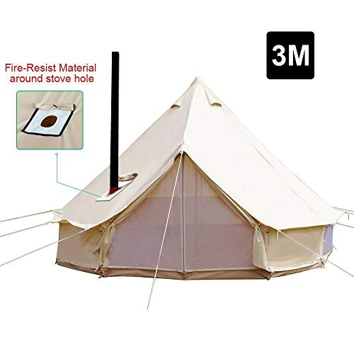 PlayDo 3M/9.8ft 4 Season Cotton Canvas Bell Tent Camping Yurt Tent Huning Wall Tent with Top Stove Hole for 2 Person