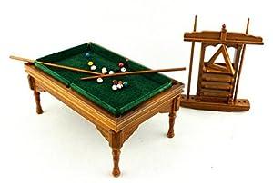 Puppen Haus Miniatur Möbel Walnuss Pooltisch Set 676 1:12 Maßstab