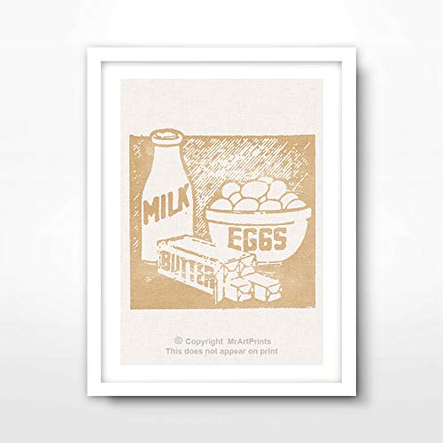 MILK EGGS BUTTER ART PRINT Food Drink Vintage Advertising Illustration Restaurant Cafe Kitchen Home Decor Bright Color Colorful Wall Picture A4 A3 A2 (10 Sizes) -  MrArtPrints