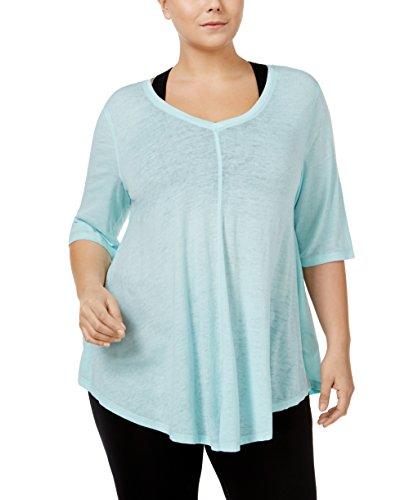 Calvin Klein Performance Women's Plus Size Burnout T-Shirt (Jamaica Blue, 2X) by Calvin Klein