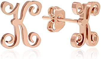 Stainless Steel 18K Rose Gold Plated Monogram Alphabet Letter Initial Stud Earrings A-Z for Womens (K)
