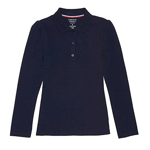 [French Toast Big Girls' Long Sleeve Stretch Pique Polo, Navy, L] (French Toast Long Sleeve Polo Shirt)