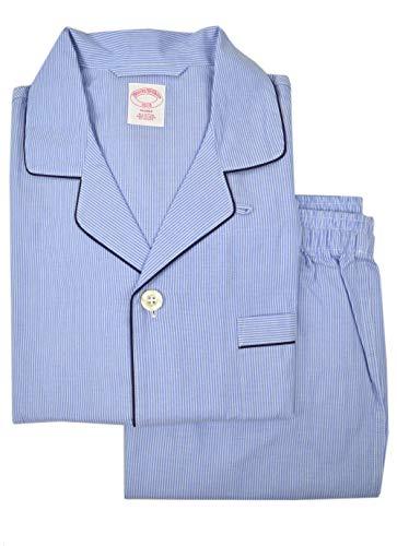 Brooks Brothers Mens 100% Cotton Button Down Pajama Shirt and Pants Set Light Blue Striped (L)