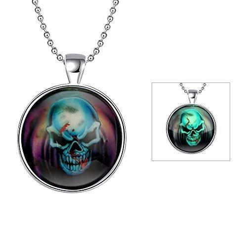 - Xiaomei Halloween Skull Head Glow In The Dark Luminous Bracelet Necklace Silver Plated Charm (Skeleton glowing necklace)
