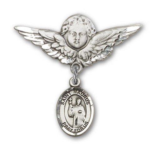 Icecarats Créatrice De Bijoux En Argent Sterling St. Maurus Charme Ange Broche De Badge 1 1/8 X 1 1/8