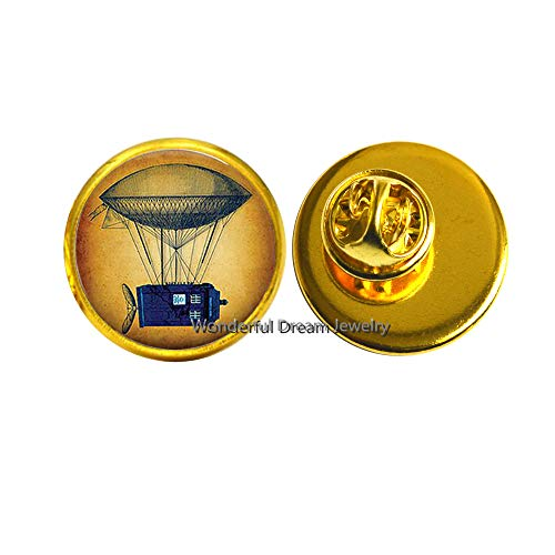 - Steampunk Flying Tardis Brooch Art Picture Glass Dome Pin Women Fashion Jewelry Christmas Friendship,PU253 (Gold)