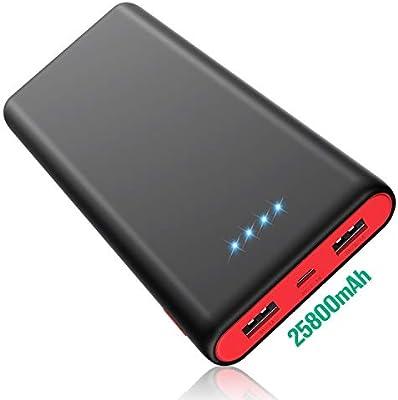HETP [Negro y Rojo HX-Y8] 25800mAH Powerbank Cargador Móvil Portátil Batería Externa con 2 Salidas USB Carga Rapida Banco de Energía para iPhone iPad ...