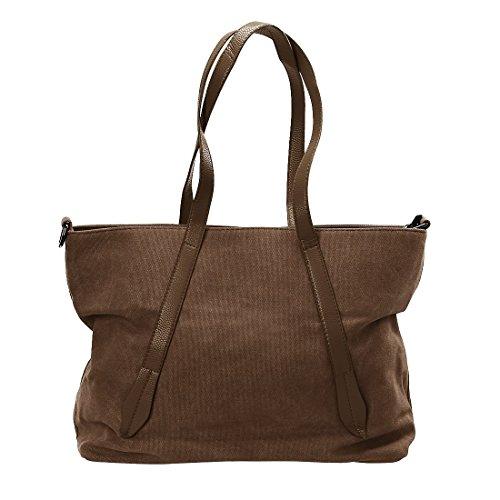 (BMC Womens Dark Coffee Canvas Material Crossbody Strap Large Double Top Handle Fashion Tote Handbag)