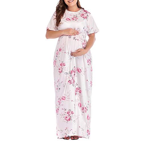 Per Di Abiti Abito Premaman Vestito La Bianco Maxi Maternità Maglia Donna Infermieristica Elegante Moglie Lianmengmvp Floreale Regali Gravidanza cTlFK31J