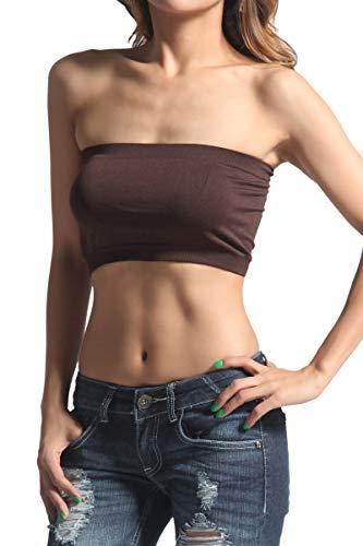 - TheMogan Women's Basic Layering Seamless Bra Top Crop Bandeau Brown ONE SIZE