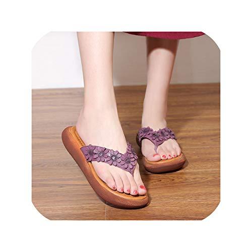 National Style Flower Flat Bottom Leather flip flopsslippers,Purple Woman Slipper,36